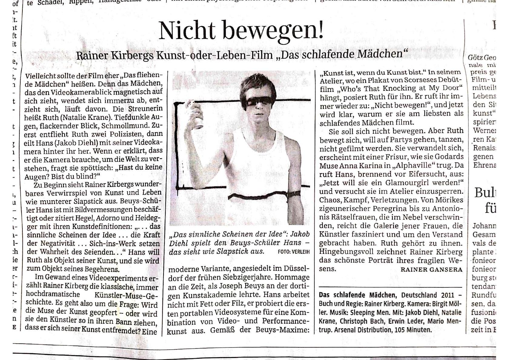 Das schlafende Mädchen - Filmkritik von Rainer Gansera, Süddeutsche Zeitung 19.01.2013